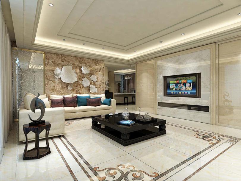 欧式客厅瓷砖装修效果图