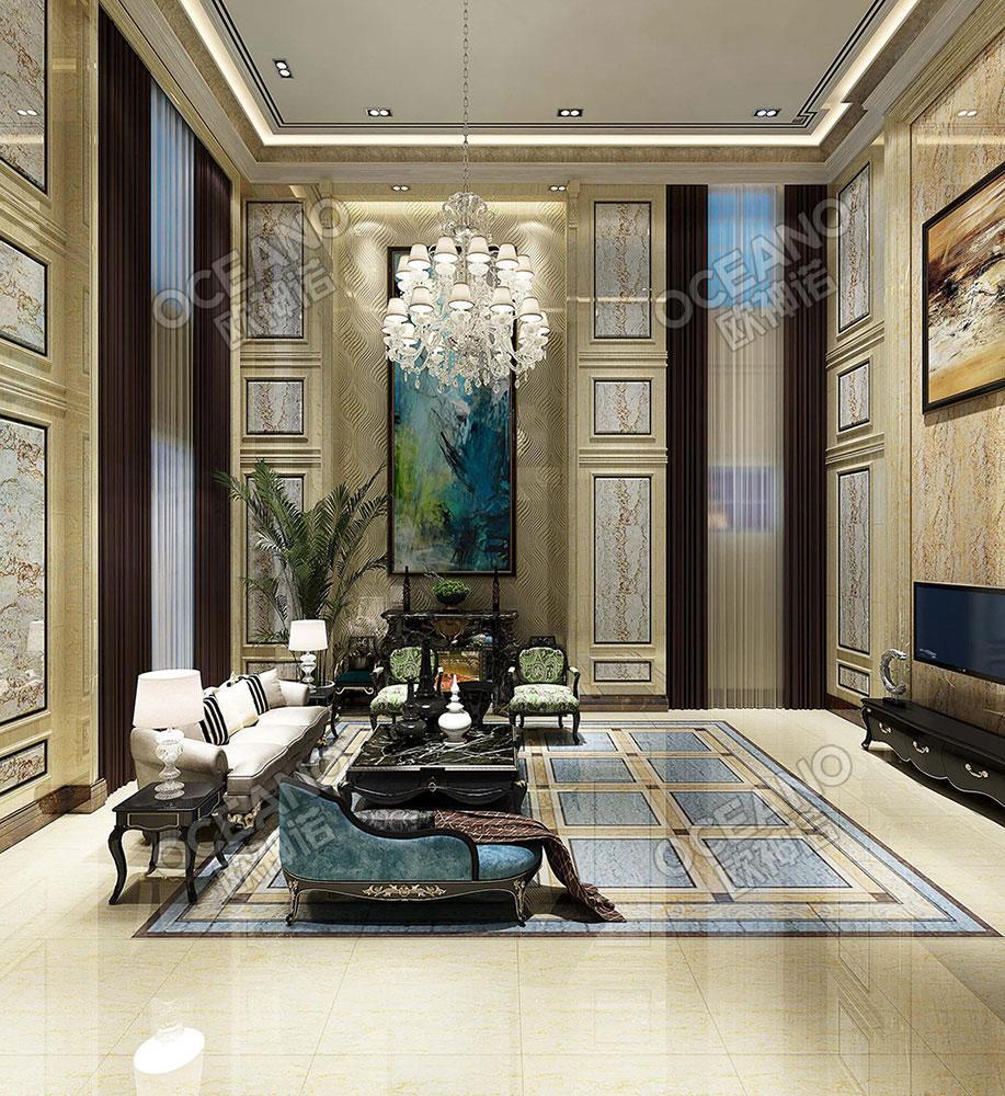 欧式客厅复式瓷砖贴图-欧神诺瓷砖效果图