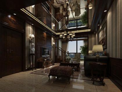 美式別墅客廳OV301瓷磚裝修效果圖