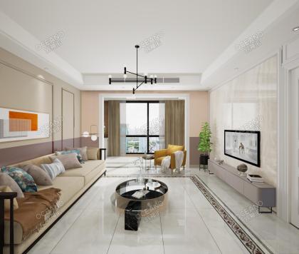 世茂紫荊樾府-C戶型現代客廳